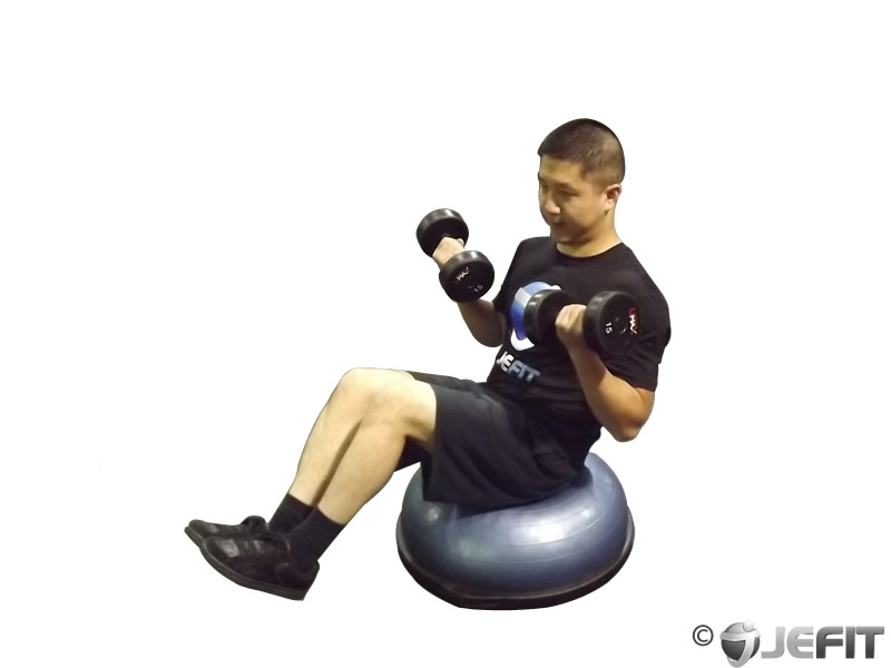 Dumbbell Biceps Curl V-Sit on Dome