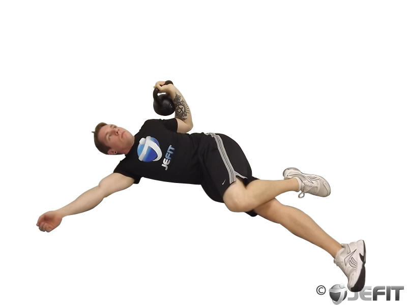 Kettlebell Extended Range One Arm Floor Press Exercise