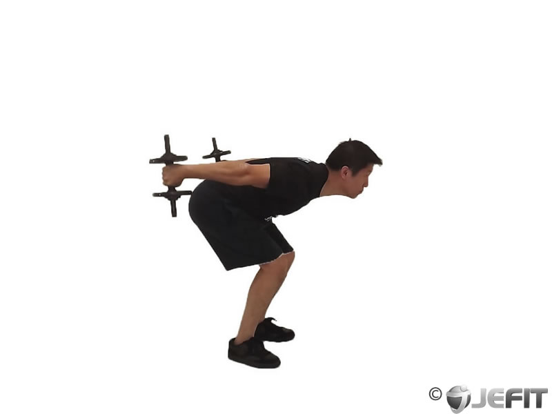 Dumbbell standing bent over two arm triceps extension exercise