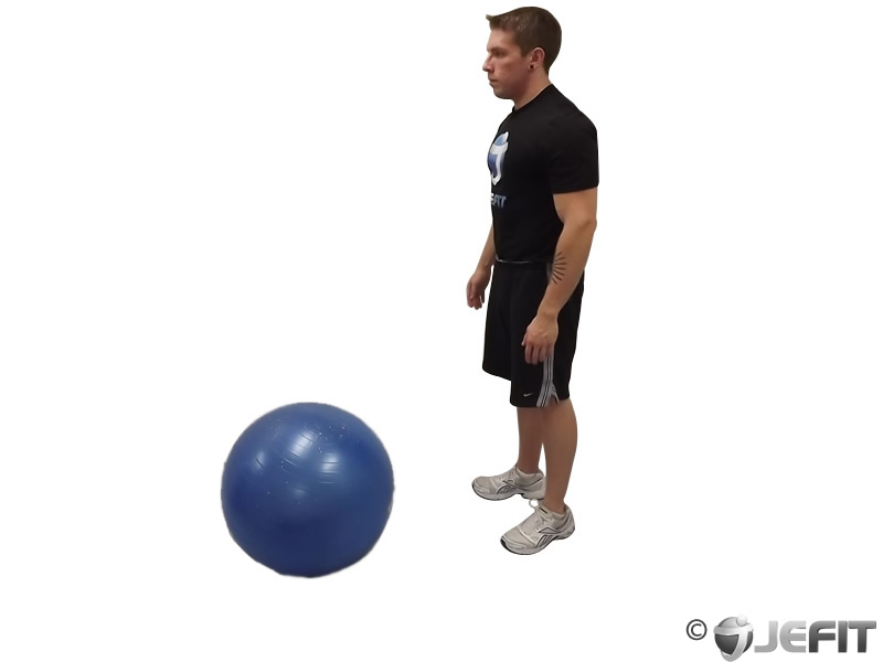 Standing Straight Leg Hamstring Contract Relax on Exercise Ball