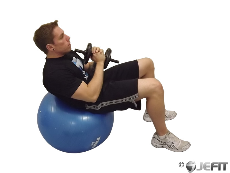 Dumbbell Sit Up On Exercise Ball Exercise Database