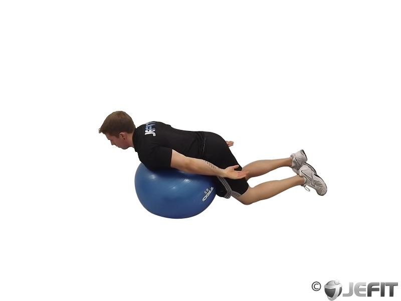 Back Extension Arms Extended on Exercise Ball