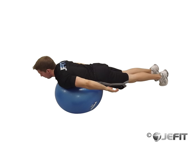 Back Extension Knees off Ground on Exercise Ball
