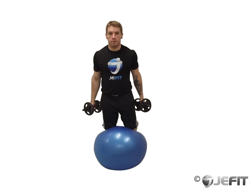 Bicep Curl Kneeling on Exercise Ball