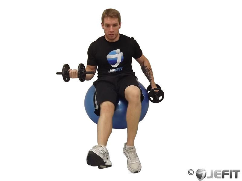 Alternating Bicep Curl with Leg Raised on Exercise Ball