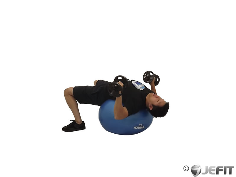 Decline Dumbbell Press on Exercise Ball