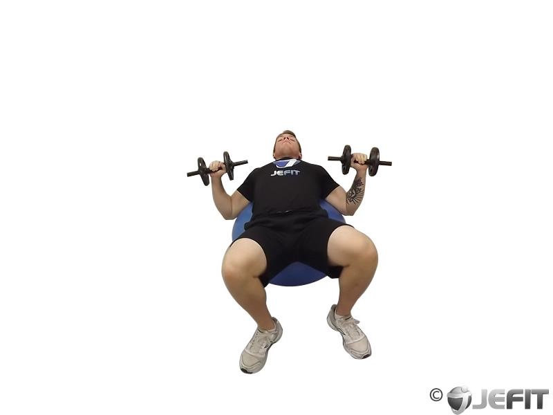 Dumbbell Press on Exercise Ball