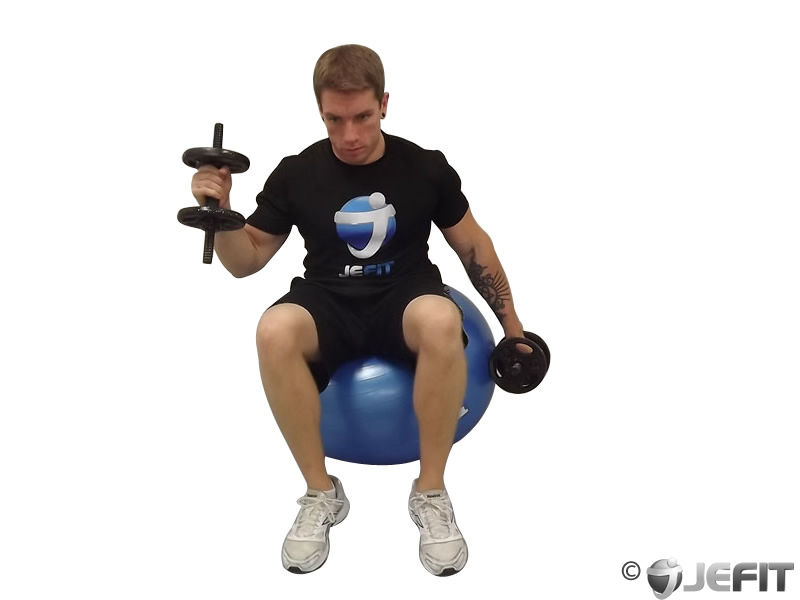 Seated Alternate Hammer Curl on Exercise Ball