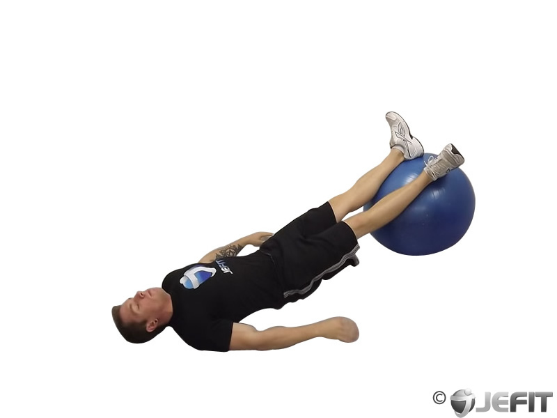 One Legged Diagonal Kick Hamstring Curl on Exercise Ball