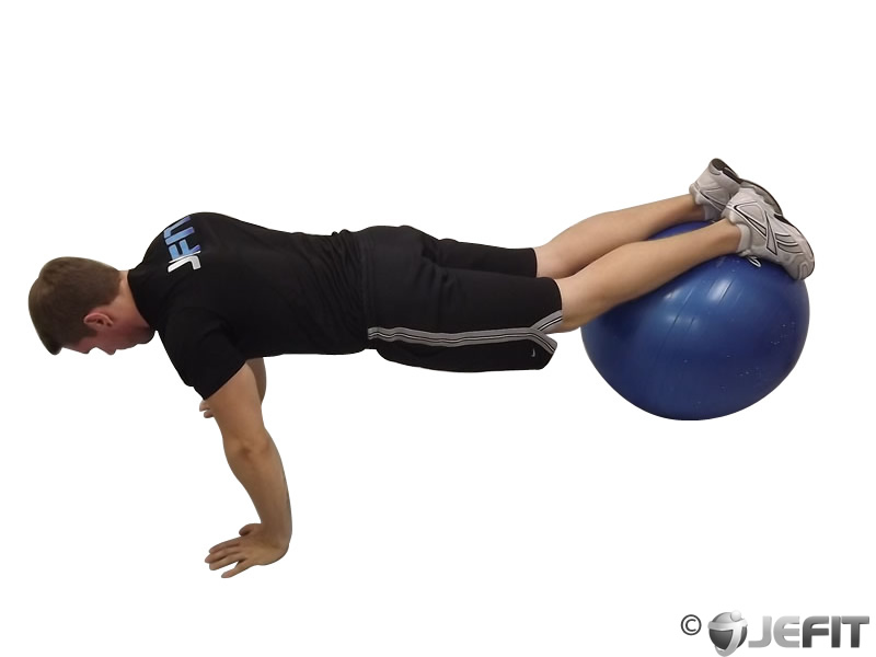 Jack Knife Push Up on Exercise Ball