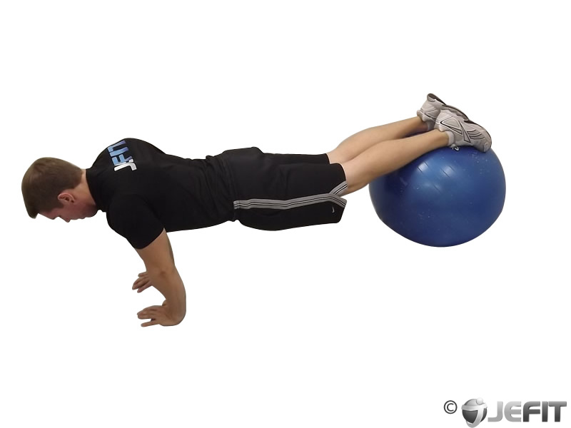 Narrow Push Up off Exercise Ball
