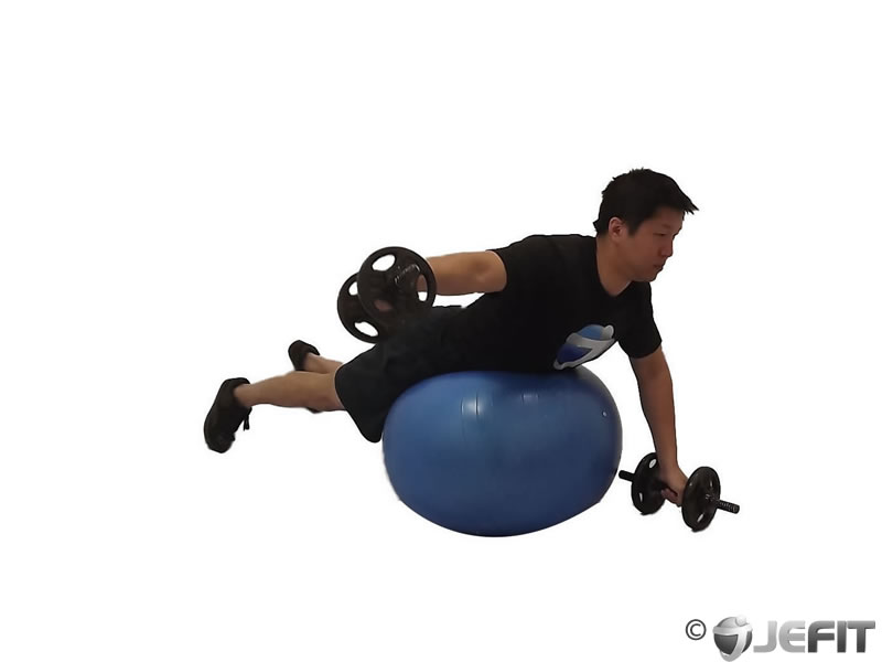 Alternate Rear Delt Fly on Exercise Ball