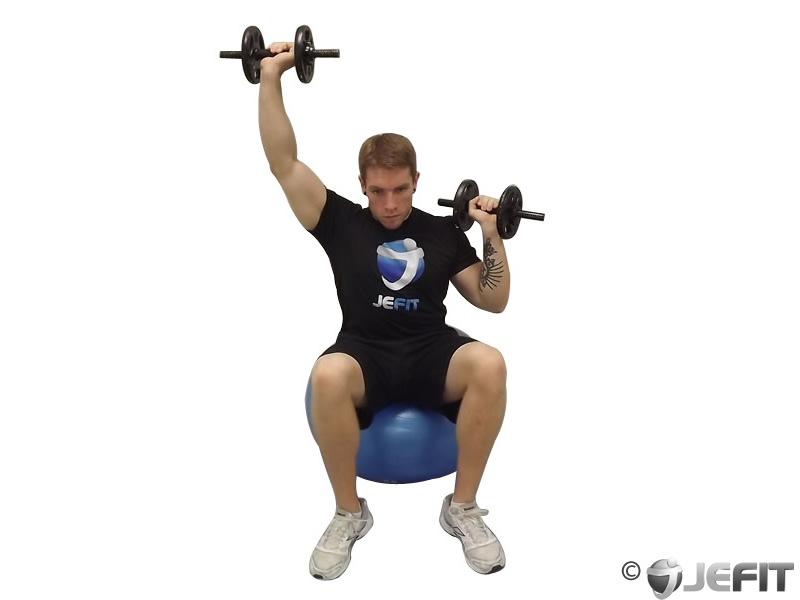 Seated Alternating Dumbbell Shoulder Press on Exercise Ball
