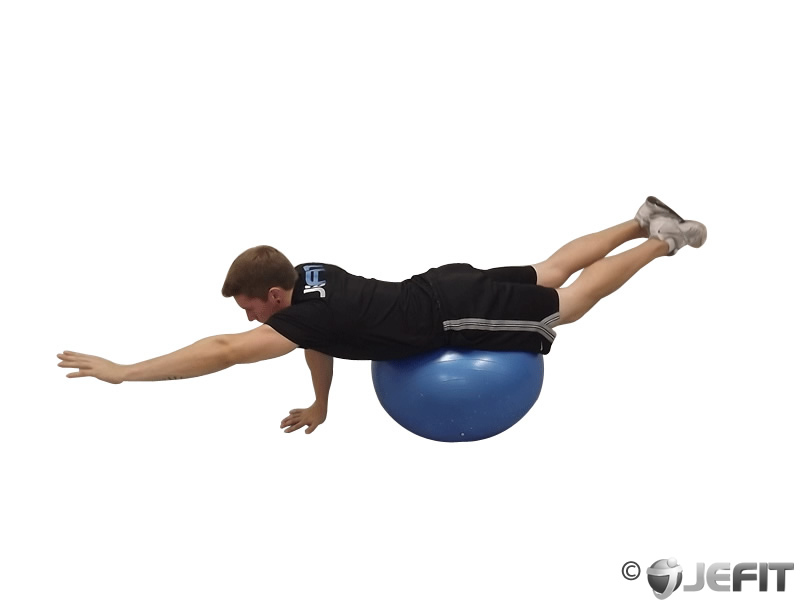 Alternating One Arm Bridge on Exercise Ball