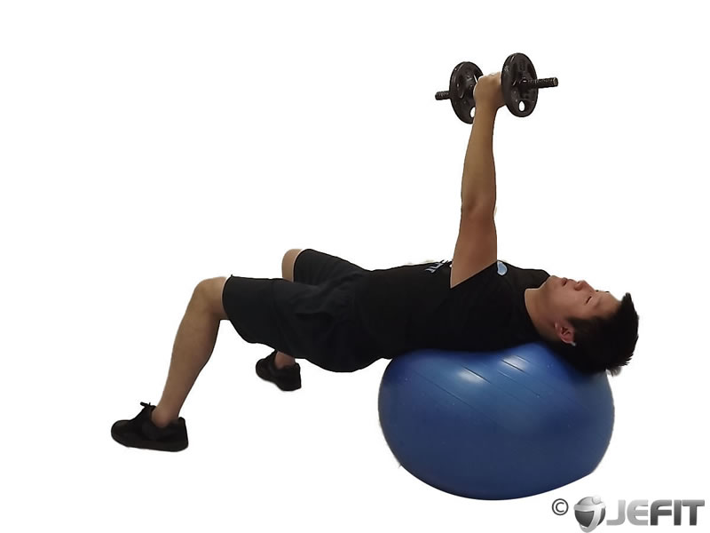 Dumbbell one arm fly on exercise ball exercise database for Floor underhand cable fly