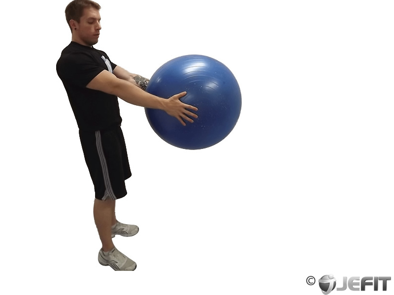 Traveling Lunge with Exercise Ball