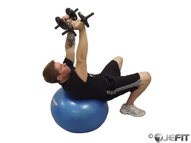Supine Triceps Extension on Exercise Ball