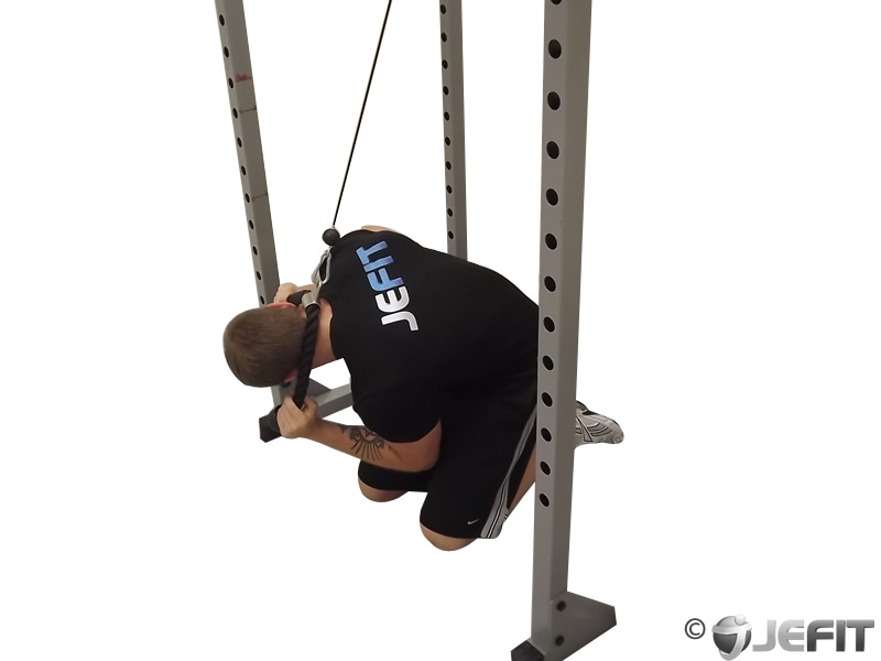 Cable Kneeling Crunch with Alternating Oblique Twists ... Oblique Exercises Cable