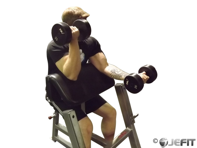 Alternate Dumbbell Preacher Curl