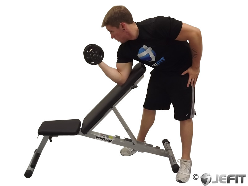 Standing One-Arm Dumbbell Curl Over Incline Bench