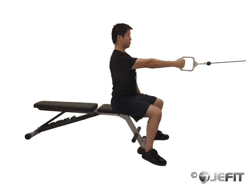 Cable one arm seated row exercise database jefit for Floor underhand cable fly