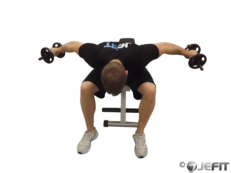 Dumbbell seated bent over reverse fly exercise database for Floor underhand cable fly