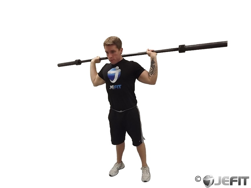 Standing Alternating Front/Back Barbell Press