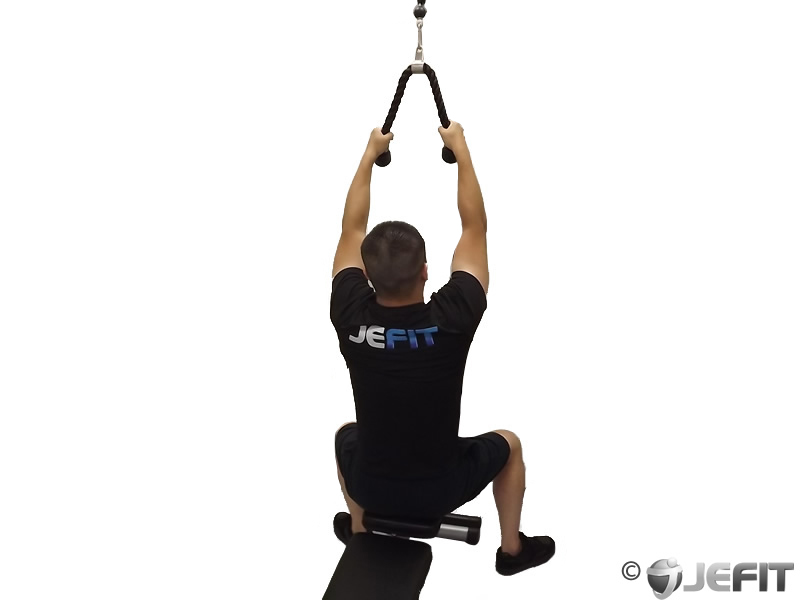 Low cable rope high pull to chest
