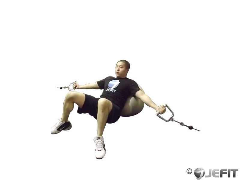 Cable Incline Fly on Exercise Ball