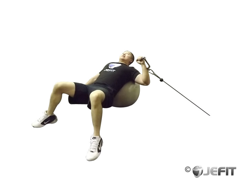 One Arm Cable Press on Exercise Ball