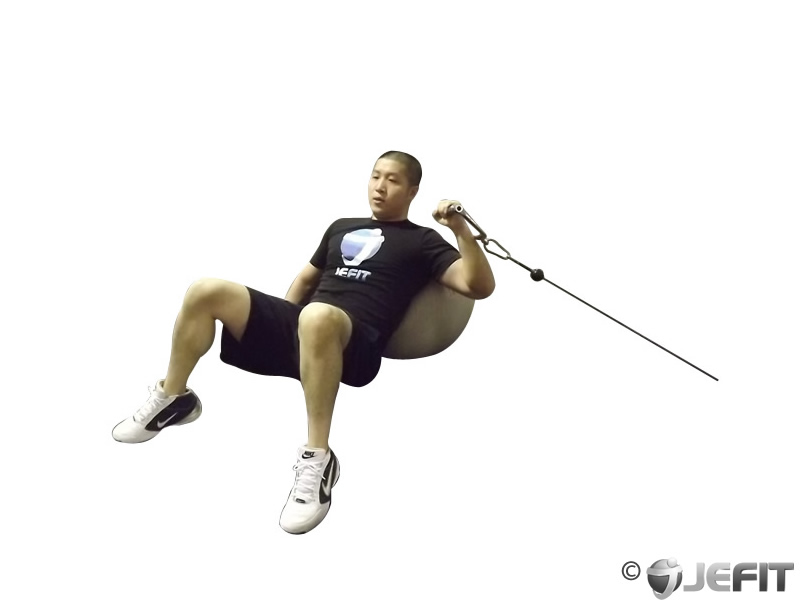 One Arm Incline Cable Press on Exercise Ball