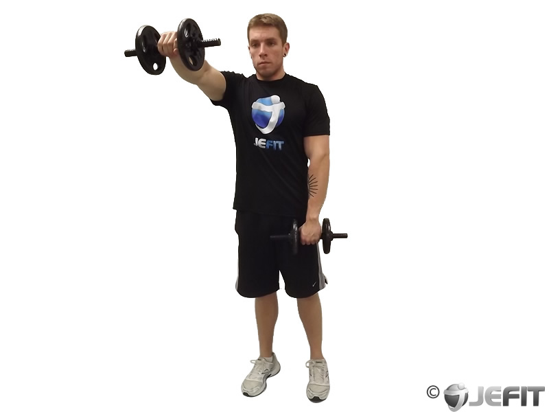 Alternate Standing Front Dumbbell Raises