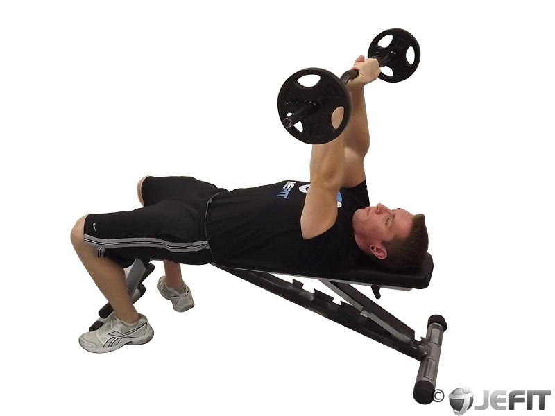 EZ Bar Lying Close-Grip Triceps Extension Behind the Head