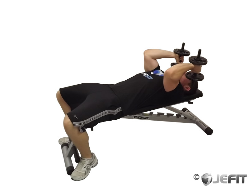 Dumbbell Lying Supine Two Arm Triceps Extension - Exercise ...