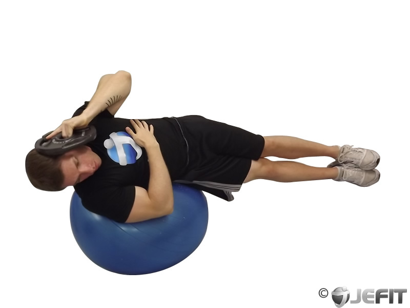 Weight Plate Side Bend on Exercise Ball