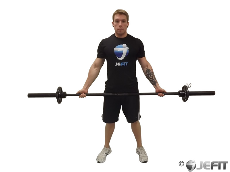 Barbell Standing Wide Grip Biceps Curl