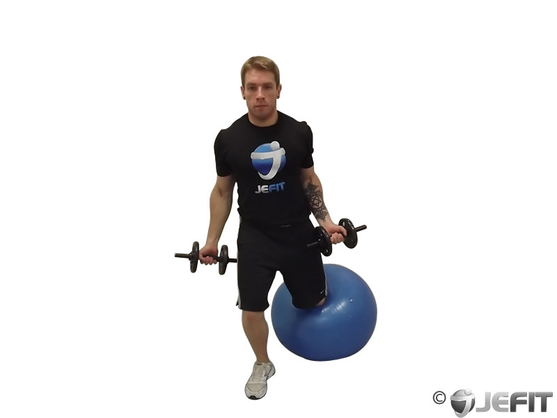 Dumbbell Bicep Curl on Exercise Ball with Leg Raised