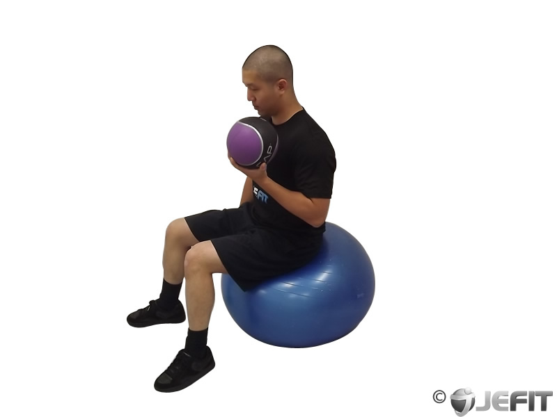 Medicine Ball Biceps Curl On Exercise Ball Exercise