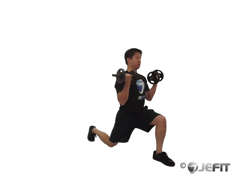 Dumbbell Forward Lunge with Bicep Curl