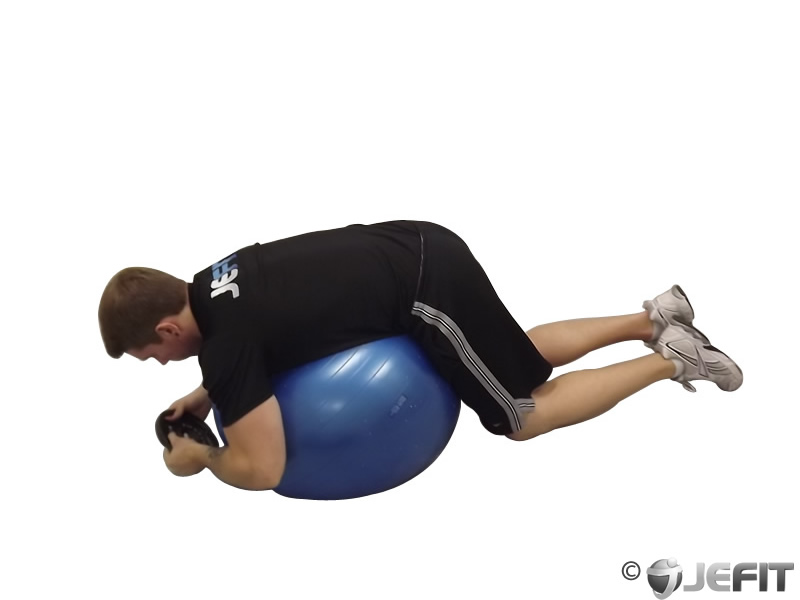 Weight Plate Hyperextensions on Exercise Ball