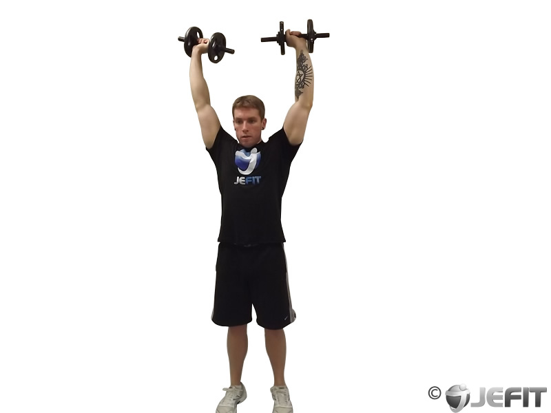 Dumbbell Standing Straight Arm Front Delt Raise Above Head ...