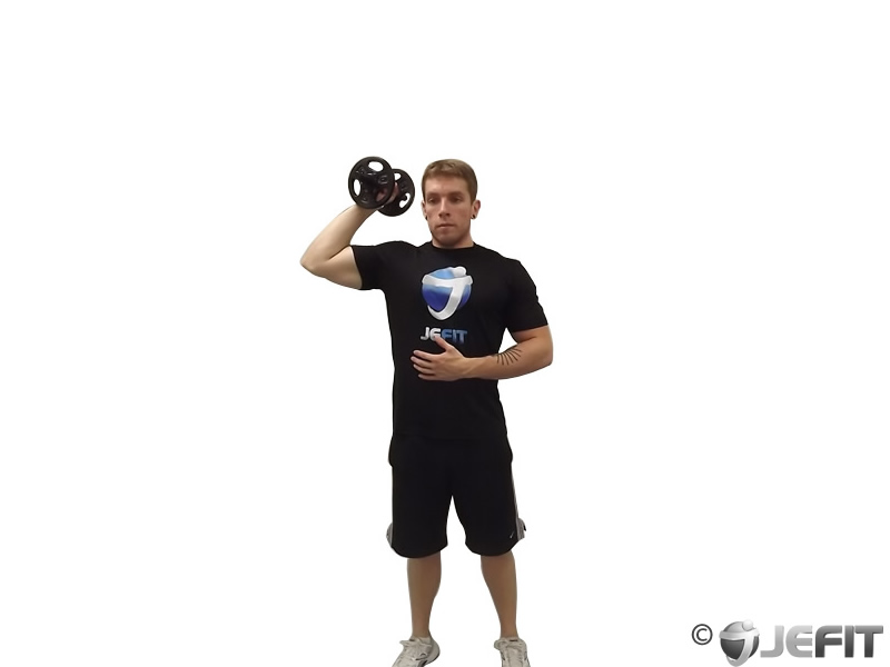 Dumbbell Standing Palms In One Arm Press