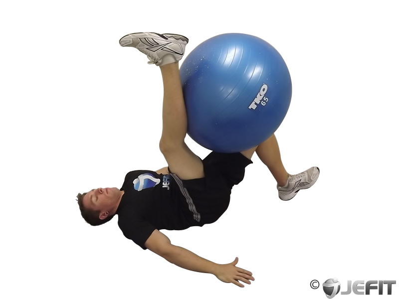 Supine Straight Leg Hamstring Stretch on Exercise Ball