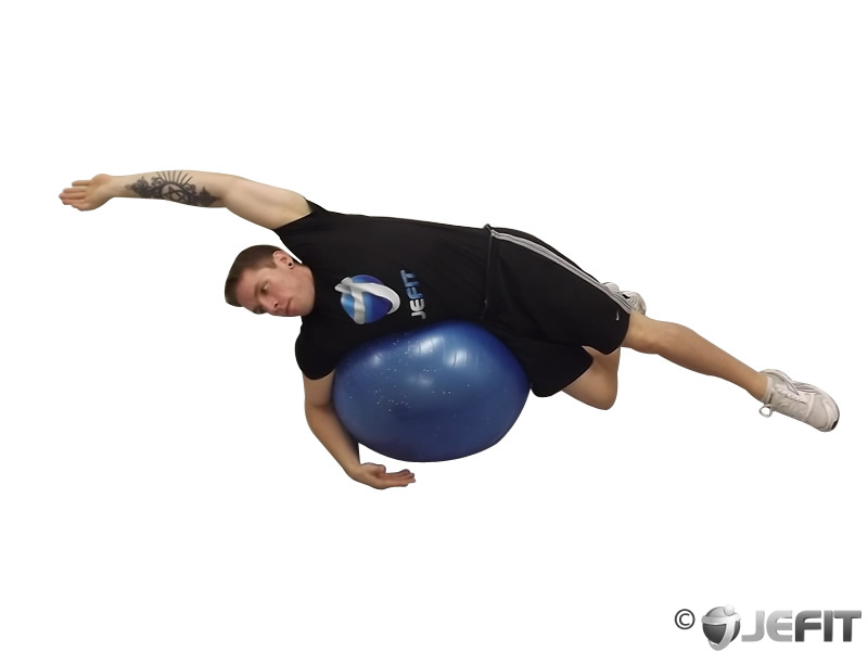 Exercise Ball Lying Side Lat Stretch