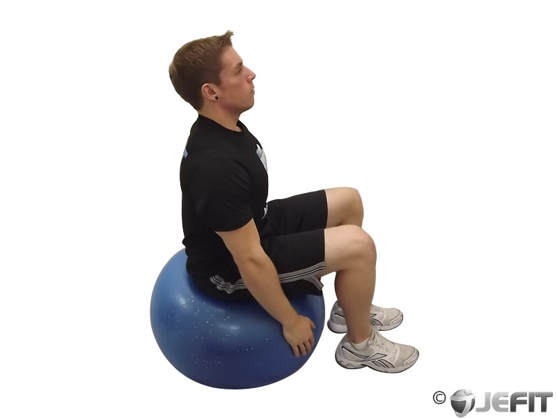 Exercise Ball Seated Neck Extensor Stretch