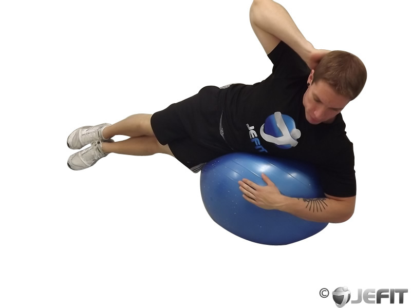 Exercise Ball Side Crunch Against Wall