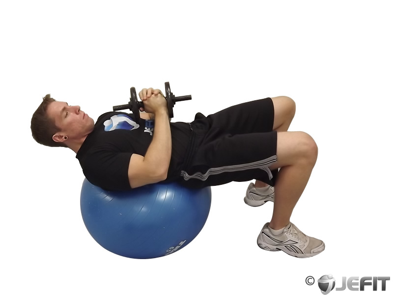 Dumbbell Sit Up On Exercise Ball