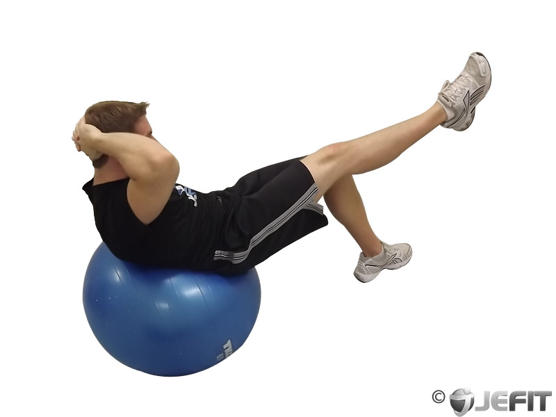 Exercise Ball One Leg Crunch