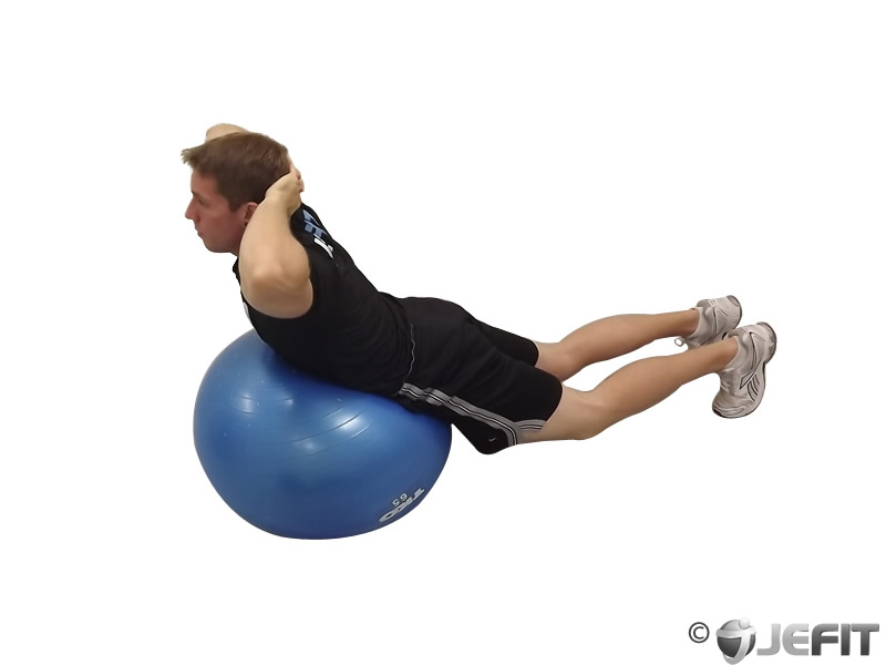 Exercise Ball Back Extension With Hands Behind Head