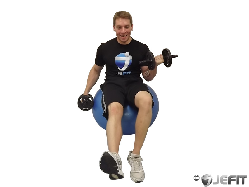 Dumbbell Alternating Bicep Curl with Leg Raised on Exercise Ball